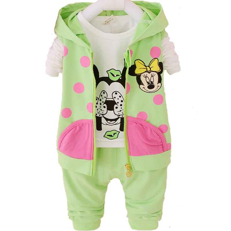 Hello Kitty Girl Baby Clothes Sets Kids Girls Hoodies With Zipper Minnie Sweatshirt Mickey 2PCS 3PCS Children Girl Clothing Sets(China (Mainland))