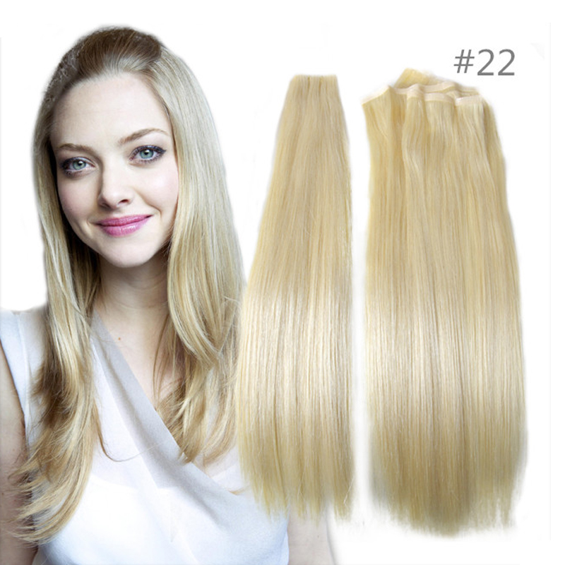 True Skin Weft PU Russian Cuticle Remy Human Hair Extensions Black Brown Blonde Hand Tied Straight Weft un-Tape Maded Hair Weave