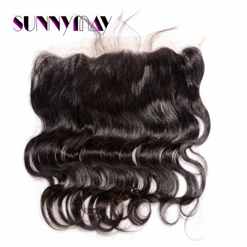 Фотография Stock 13x4 Lace Frontal Body Wave Brazilian Virgin Hair Natural Hairline Bleached Knots Lace Frontal Closure With Baby Hair