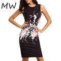 2016 Summer Women s Elegant Dress Floral Print Knee Length Pencil Dress Sleeveless Black Dress Work