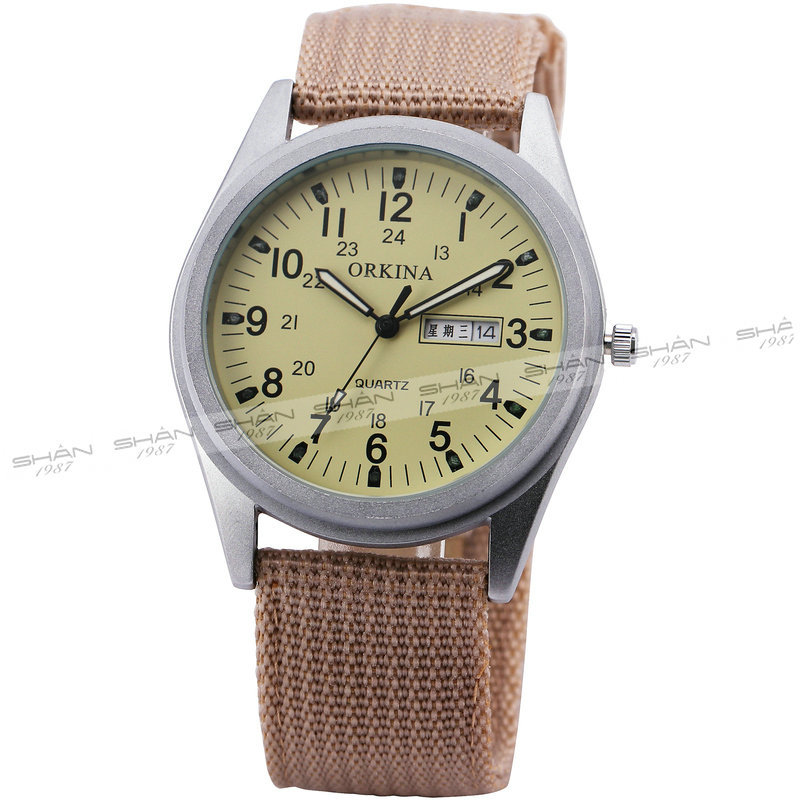 SHAN Men's Vogue Sport Leisure Quartz Watch Brown Nylon Band Day&Date Display Round Dial Analog Light Yellow Durable + GIFT BOX(China (Mainland))