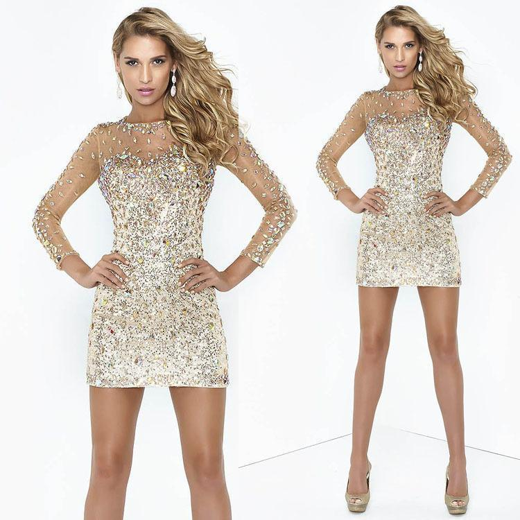 2015 sheath rhinestone beaded party cocktail dresses sexy