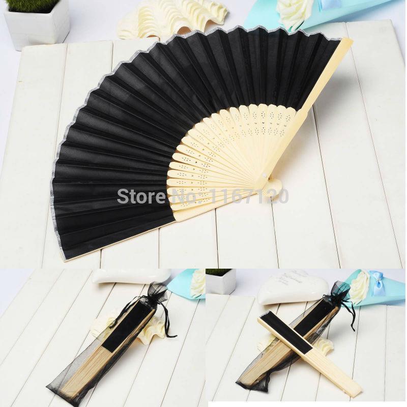 Free Express shipping 120 pcs/lot black Folding Elegant Silk Fabric Hand Fan with Gift bag Wedding Favors 21cm LS06*120(China (Mainland))