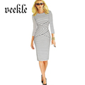 Women Dress Plus Size 6L Long Elegant Nautical Navy Stripe Wear to Work Business Office Career