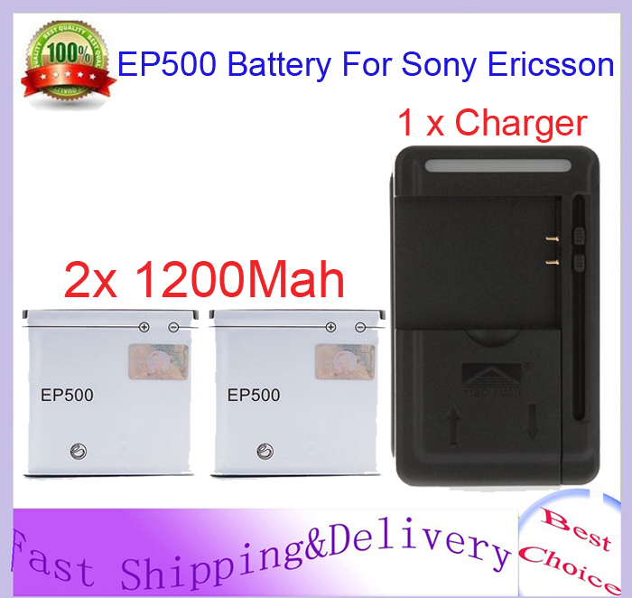 For Sony Ericsson E16i SK17i W8 WT18i ST15i E15i 2x 1200mah EP500 Replacement Battery + Wall Charger Free Shipping wholesale(China (Mainland))