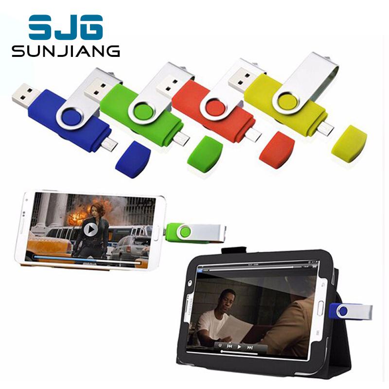 fashion Capacidade total OTG usb flash drive pen drive 64 GB 32 GB 8 GB 16 GB dupla externa do smartphone stick usb pendrive(China (Mainland))