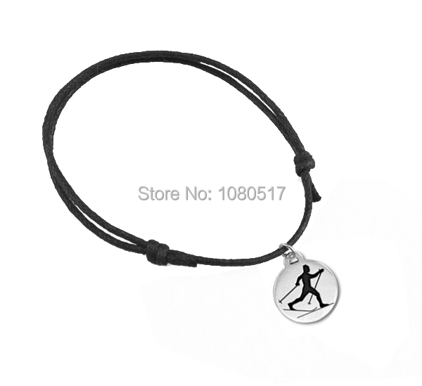 Wholesale Metal Zinc Alloy Wax String Chain Cross Country Skiing Charms Bracelet(China (Mainland))