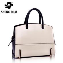 2016 Fashion Brand Women's 100% Genuine Leather Handbags Vintage Female Panelled Portable Bags Brief Colorful Ladies Tote Bag
