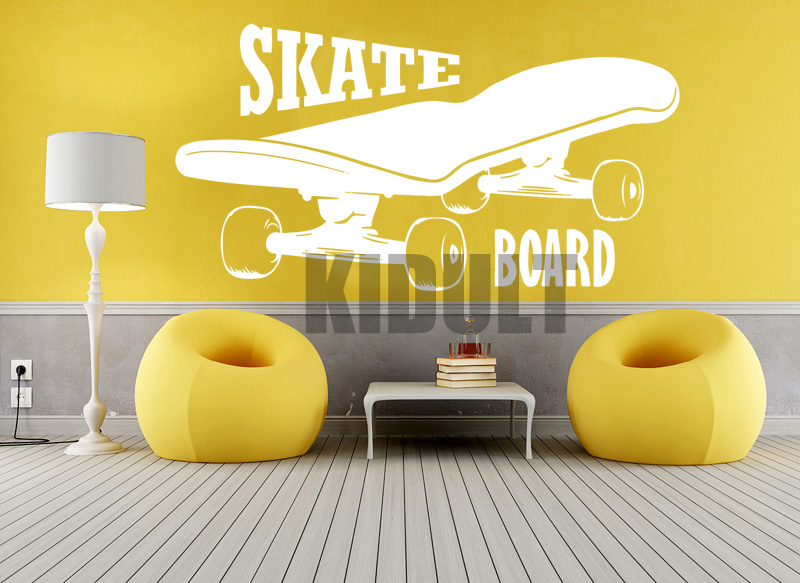 Creative Wall Decals Skateboard Skateboarding Text Pattern Wallpaper Family Home-room Art Deco Wall Stickers Vinyl Stickers