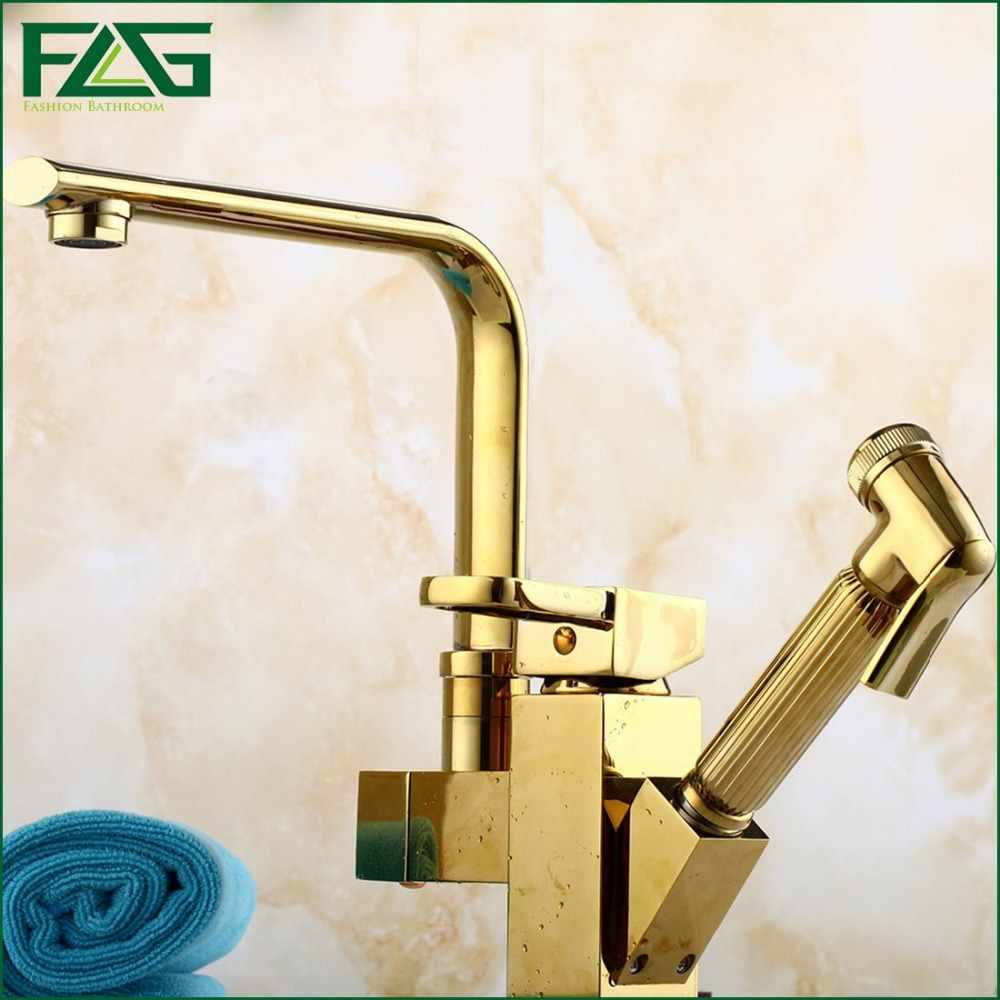 Kitchen Faucet 7 Tube Tap Gold Hand Sprayer Dual Handle Robinet Cuisine Douchette Cold And Hot Deck Brass Kitchen Faucet FLG8022(China (Mainland))