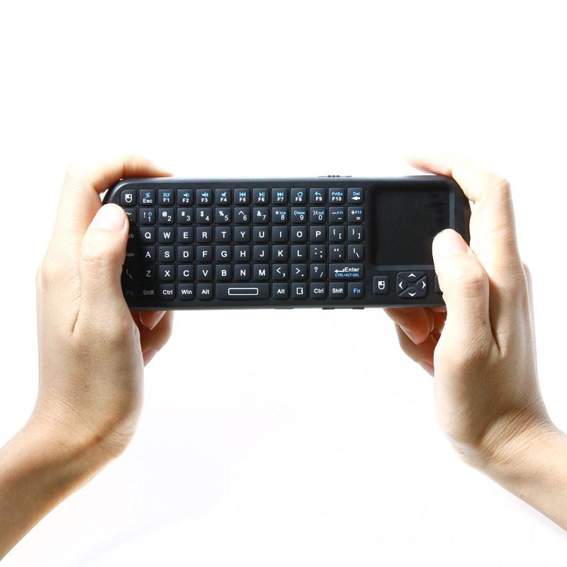 High quality 2.4G RF Mini Wireless Keyboard Handheld Keyboard Touchpad with LED Light Smart TV / PC Remote Keyboard teclado(China (Mainland))