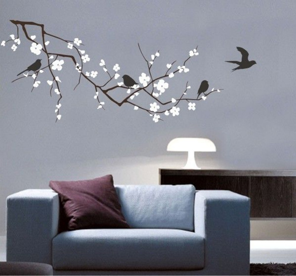 Wall Art Decals Cherry Blossom : New vinyl fashion tree branch cherry blossom wall