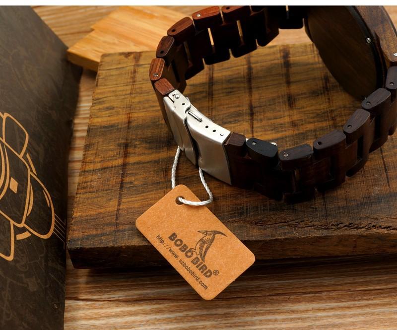 Новое Прибытие мужская Дерево Наручные Часы Классический Застежка Quarzt Движение Наручные Часы с Дерева Ремень