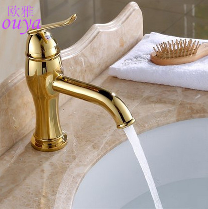 Cheap modern vintage bathroom sink faucet Gold hot cold bathroom faucet single hole bath Mixer taps deck mounted brass Gold tap(China (Mainland))