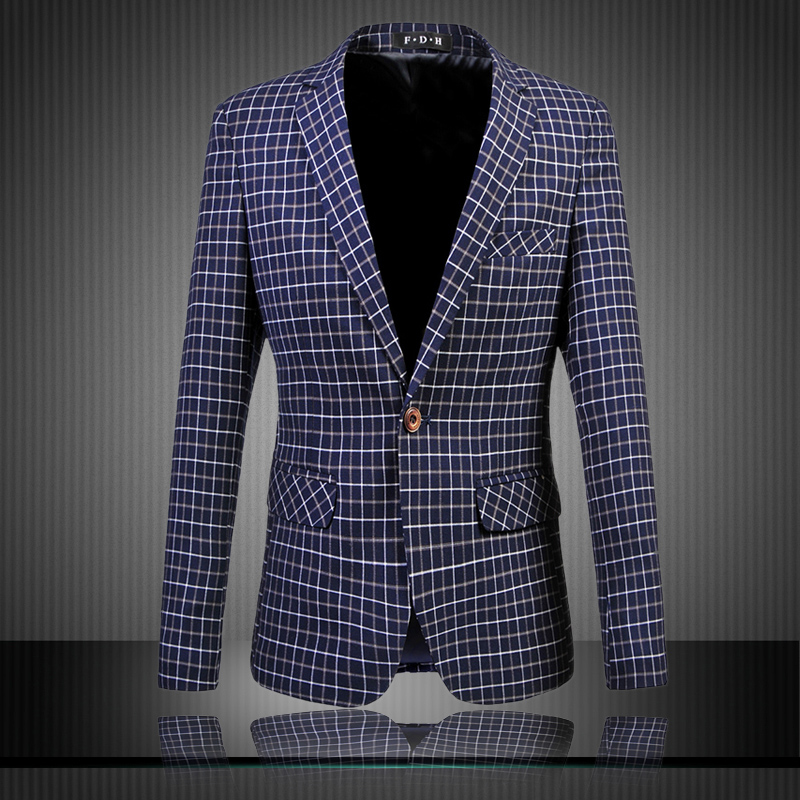 2015 new arrival fashion small plaid casual blazer men male plus size 6xl slim fit blazers men's single button cothing /XF26(China (Mainland))