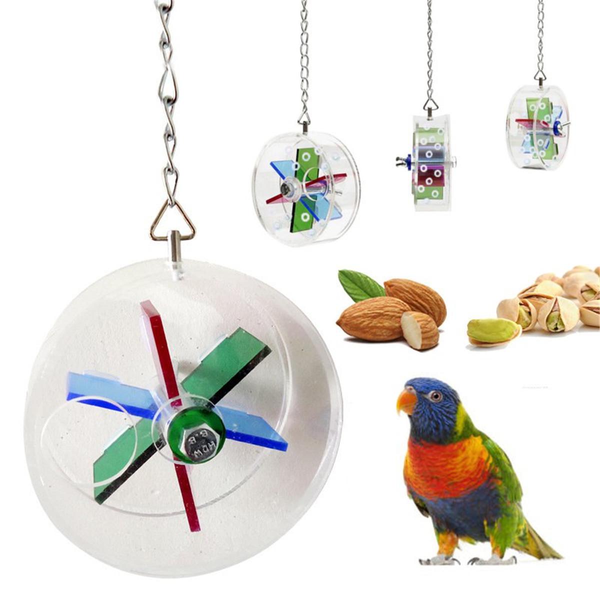 Висит Попугай Ролик Фидерное Устройство в форме Колеса Игрушки Птицу Попугай Канарских Foraging Развлечения Игрушки