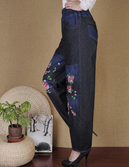 Скидки на Шаровары брюки для женщин плюс размер эластичный пояс случайные джинсы шаровары вышивка осень весна зима высокой талией hoj0602