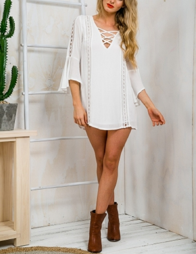 Buy white t shirt dress bandage criss Buy white dress shirt