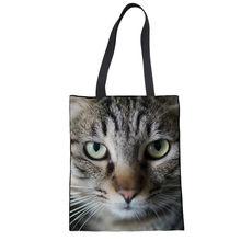 Bolsos de compras para gatos lindos FORUDESIGNS Recycel Mom Shoudler bolsos para mujeres grandes mujeres Kawaii Casual animales Bolsas Mujer(China)