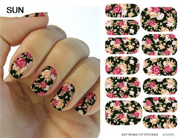 Water Transfer Nails Art Sticker Pink And Red Rose Flowers Design Nail Sticker Manicure Decor Tools Full Cover Nail Wraps Decals(China (Mainland))