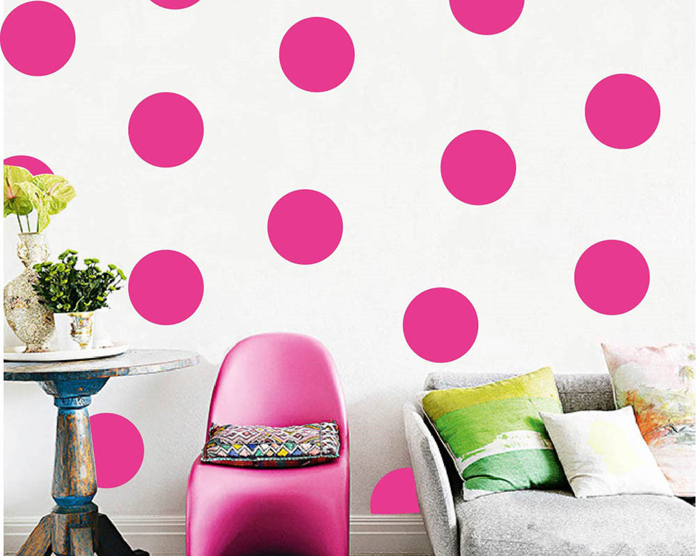 36pcs 10cm 4quot pink polka dots wall stickersdiy mint for Kitchen colors with white cabinets with polka dot wall art