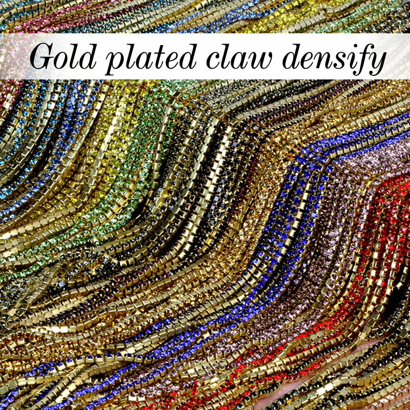 16 kind color 3.6Meter/ roll Gilded base clear crystal SS6 (2mm) intensive Gilded base diy beauty accessories rhinestone chain(China (Mainland))