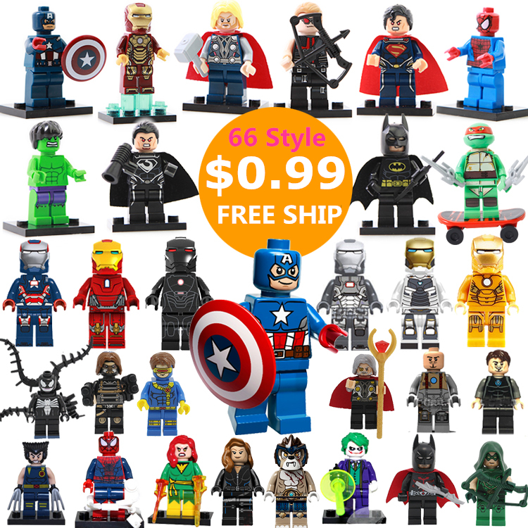 66Style Single Sale DC Marvel Super Heroes Avengers Batman Minifigures Model Building Blocks Kids Toys Gift Compatible with LEGO(China (Mainland))