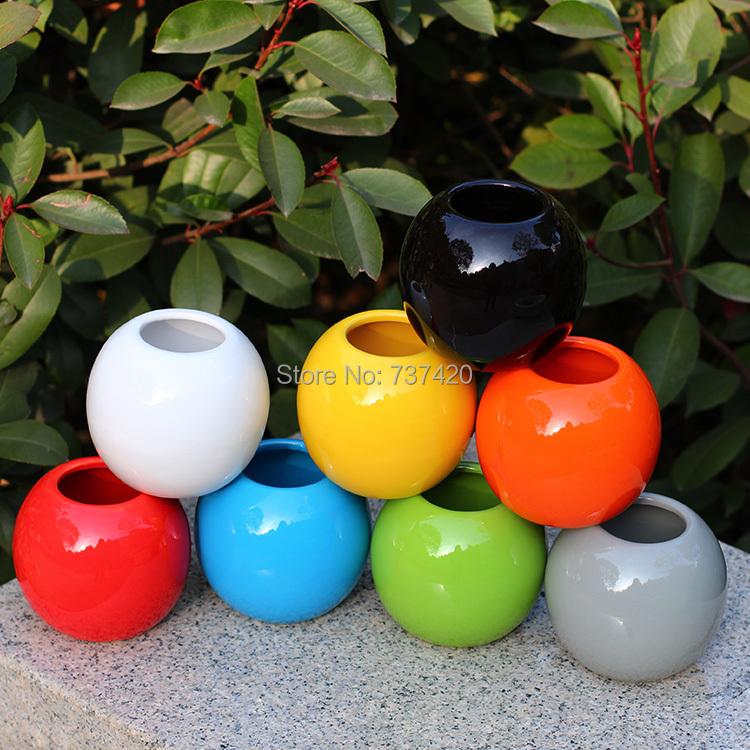 3PCS\LOT New 2015 nursery pots 10cm*10cm colorfull ceramics pots round planters garden pots porcelain flower pots free shipping(China (Mainland))