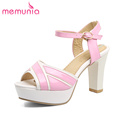 MEMUNIA 2017 New arrive high heels sandals women fashion sweet mixed colors buckle summer shoes leisure