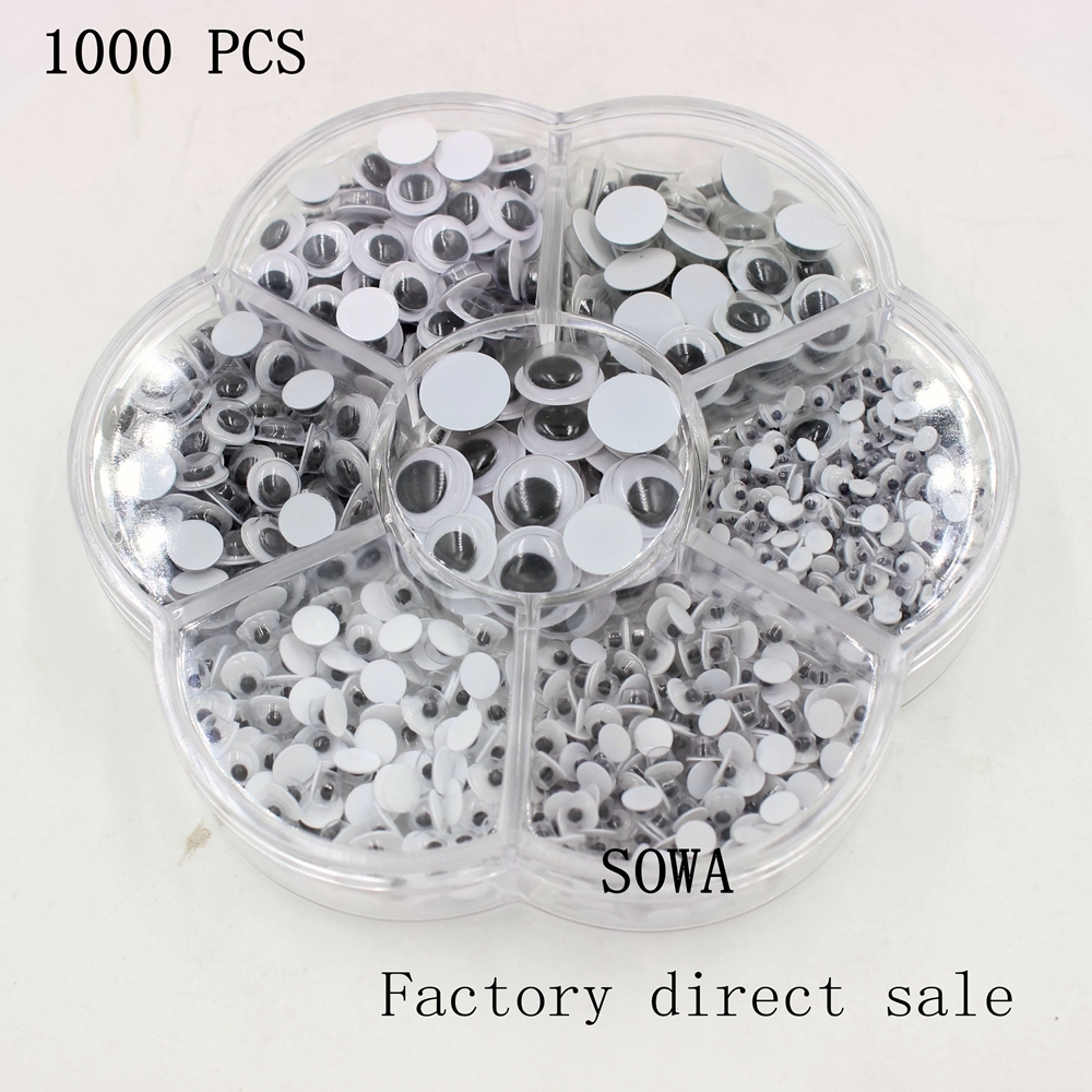 Free Shipping Mix 3mm/4mm/5mm/6mm/7mm/8mm/10mm Movable Toy Eye 1000pcs/Box googly eyes Plastic Eye Without Self-adhesive(China (Mainland))