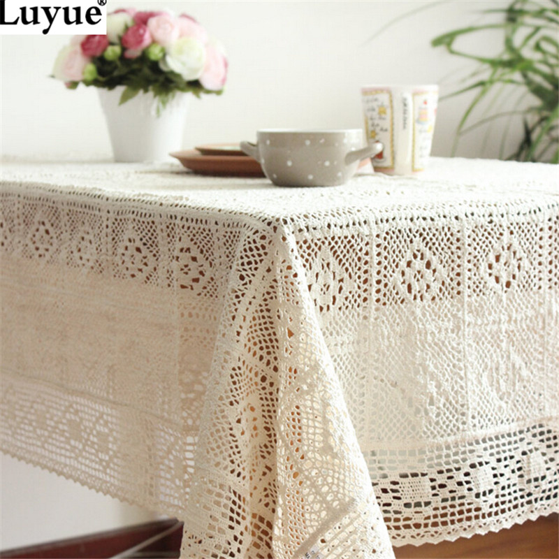 White Crochet Lace Embroidery Tablecloth for Weddings Table Cloth Cover Rectangular manteles para mesa(China (Mainland))