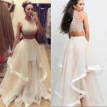 Two Piece Prom Dresses vestidos de festa With Crystal Beads Glitz Ruffles Tiered Party Dress Tulle Cheap Evening Gowns