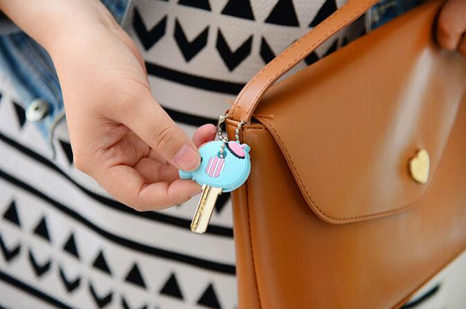 Car StylingHigh quality free shipping Kawaii Cartoon Animal Silicone Key Caps Covers Keys Keychain Case Shell Novelty Item KCS