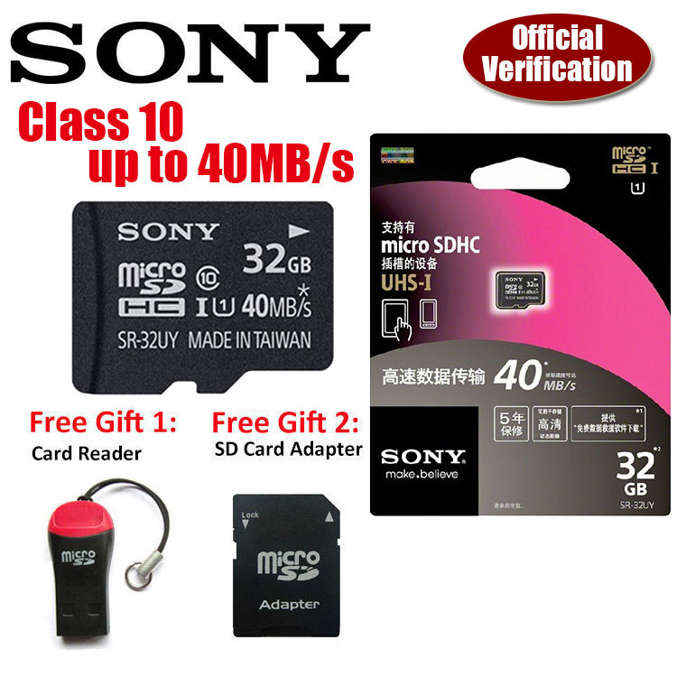 2015 Original Genuine SONY micro SD SDHC Class 10 UHS-I 40MB/s Memory Card 32gb 32g Support Official Verification(China (Mainland))