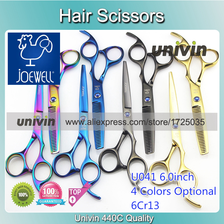 """Joewell 6.0"""" HRC62 Multi Color Hair Scissors Barber Scissor Hairdresser Scissors Joewell Haircut 440C Quality Hand Made(China (Mainland))"""