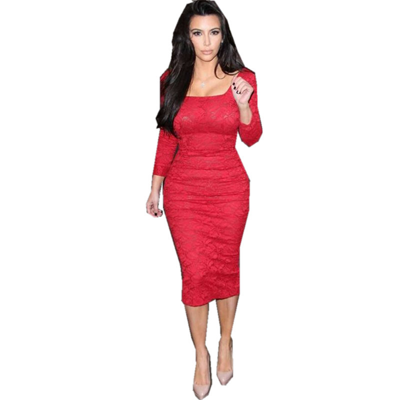 Dresses 2015 New Fashion Autumn Winter Dress Women Full Sleeve Vintage Lace Bandage Evening Party Casual Vestidos - Guangzhou Pretty Queen Clothing co.,LTD store