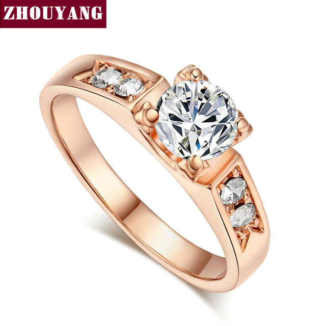 ZHOUYANG  Classical 6mm  Prong Setting CZ Wedding Ring  Real Rose Gold & White Gold Plated Wholesale  For Women