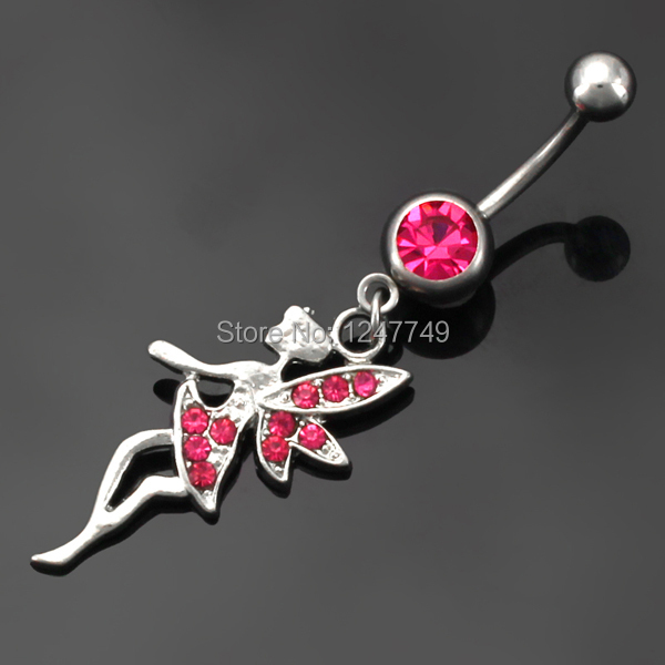 1PC New Arrivel Body Jewelry Crystal Gem Feather Angel Navel Dangle Belly Barbell Button Bar Ring Body piercing Belly For Women(China (Mainland))