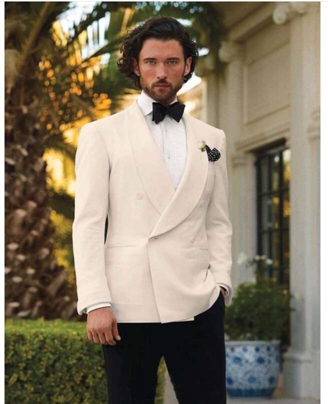 Ivory Tuxedos Men Shawl Lapel Mens Wedding Suits Formal Double Breasted Grooms Suits(jacket+pants+Bow tie) - Shiji Qingyuan Dress store