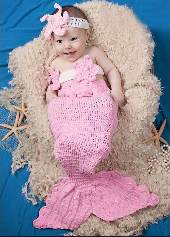 Knitting Pattern For Baby Mermaid Outfit : free-shipping-3pcs-baby-sets-Newborn-Baby-Infant-pink-Little-Mermaid-set-Knit...