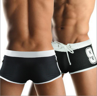 Sup male swimming trunks classic 9 low-waist tight-fitting lining strap boxer swimming trunks