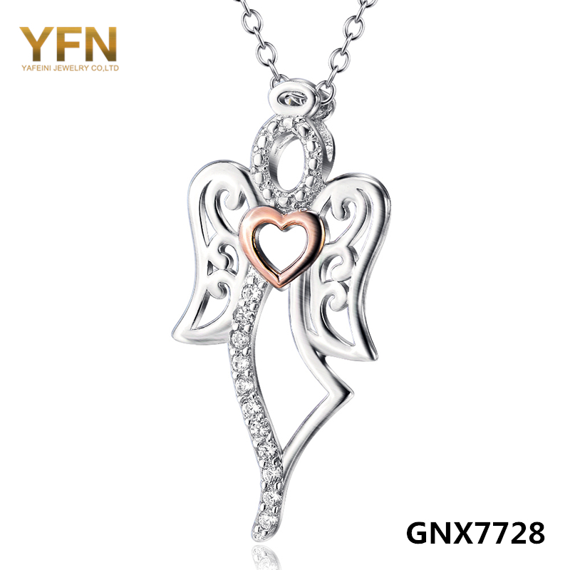 GNX7728 100% Real Pure 925 Sterling Silver Jewelry Cubic Zirconia Love Angel Pendant Necklace Fashion Jewelry For Women(China (Mainland))
