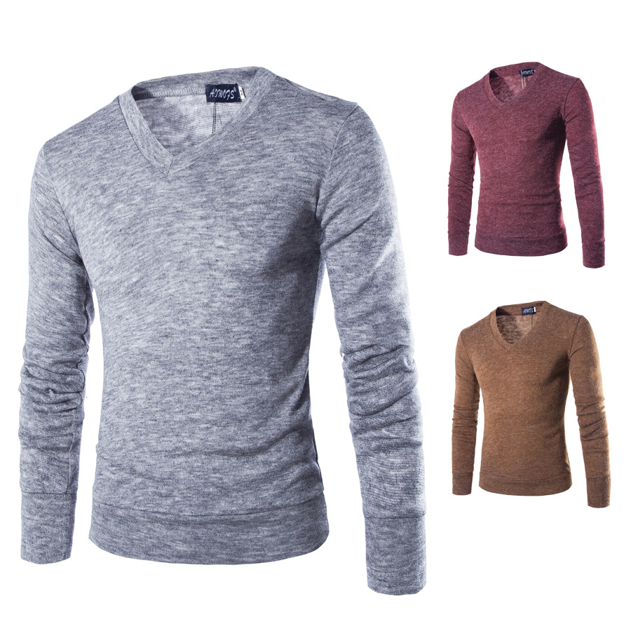 Solid Color Pullover Men V Neck Sweater Men Long Sleeve Shirt Mens Sweaters Rabbit 's Hair Casual Dress Brand Knitwear Homme(China (Mainland))