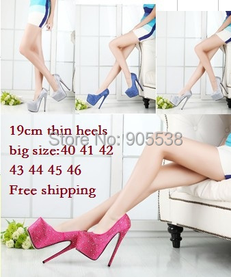 Plus:40-44 45 46 CD spring/Autumn lady red bottom Ultra high heels diamond 19cm sexy wedding women pumps fashion shoes  -  Drop shipping store store
