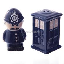 Ceramic Policeman Spice Shaker /  Salt & Pepper Shakers  / Doctor Who Style England Police Box Salt & Pepper Set(China (Mainland))