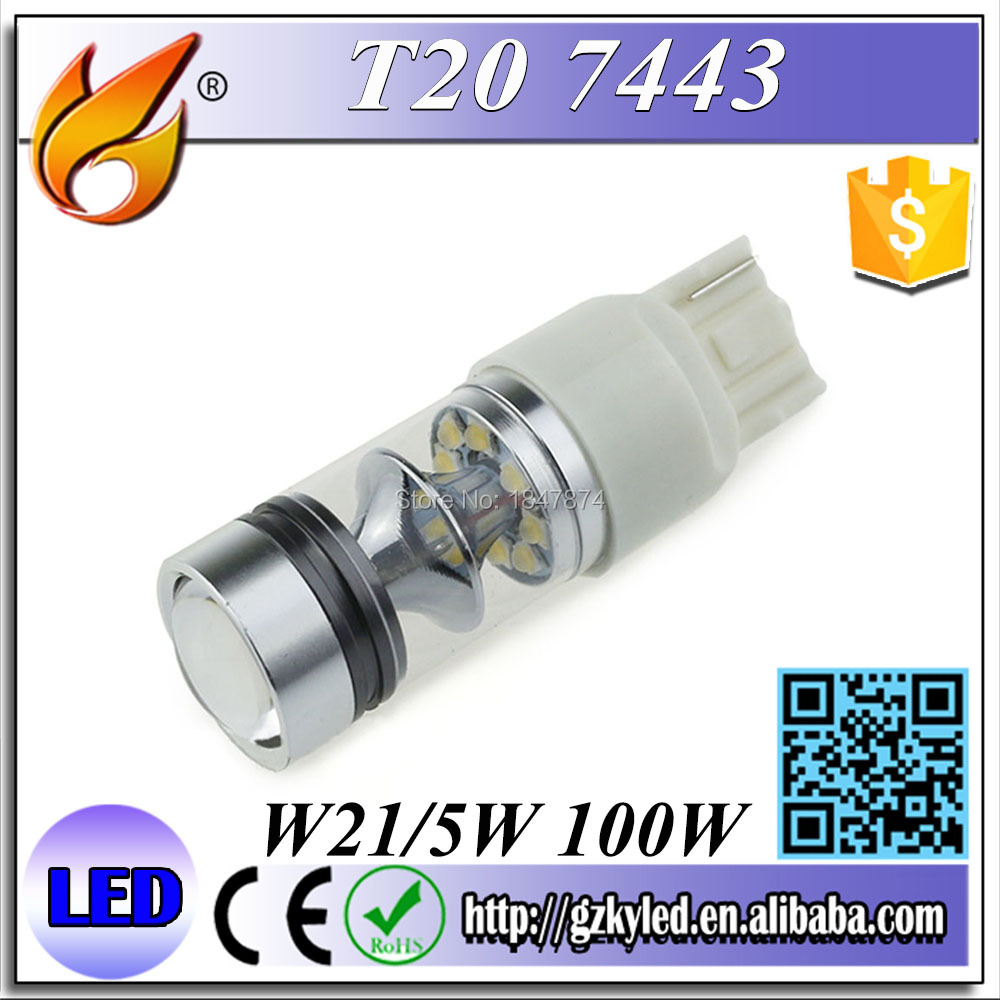 100W T20 7443 Cree Led with Lens W21/5W Car Brake Reverse Turn Signa lDRL Light Car Light Source 1000LM White<br><br>Aliexpress