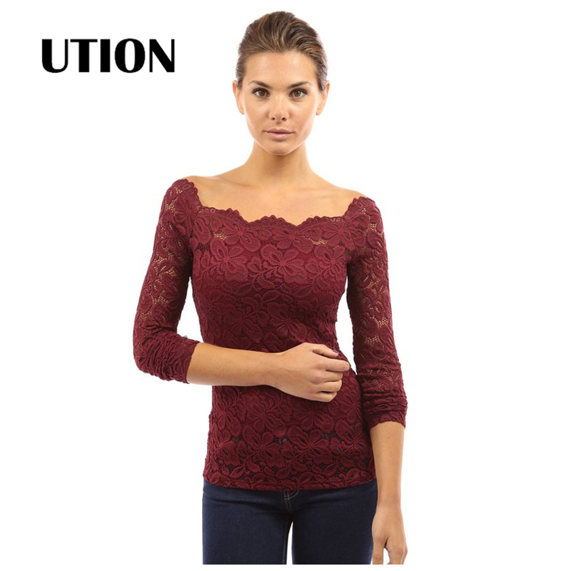 Fashion Blusas Sexy Women Blouses Hollow Out Shoulder Lace Crochet