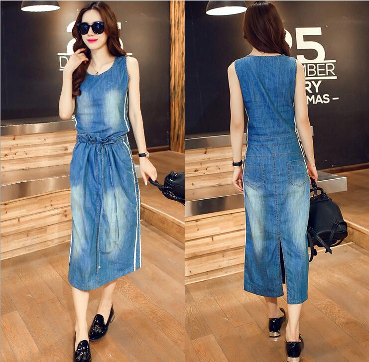 Woman Dress Summer Style 2015 Fashion O-Neck Sleeveless A-Line Denim Dresses Jeans Dress Plus Size Women's Dress Vestidos