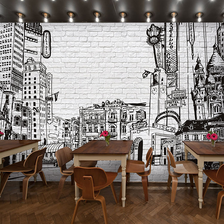 Restaurant products and backgrounds on pinterest for Cafe mural wallpaper