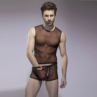 Free shipping 1 piece cheap New arrival sexy black  solid  open man panty 2015  fashion transparent sexy lingerie for men